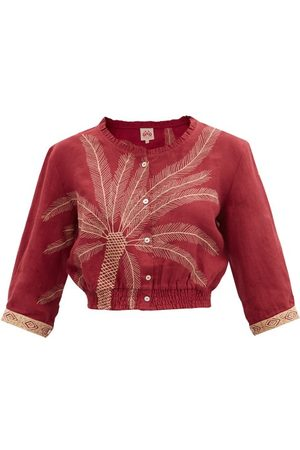 LE SIRENUSE, POSITANO Rosei Palm-embroidered Linen Cropped Top - Womens - Burgundy