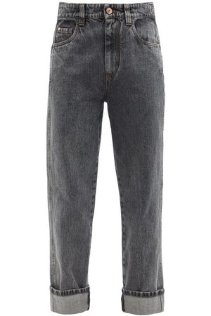 Brunello Cucinelli Women Straight - The Skater Straight-leg Jeans - Womens - Dark Grey