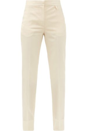 Givenchy High-rise Wool-crepe Straight-leg Trousers - Womens - Light