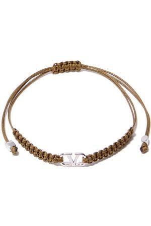 VALENTINO GARAVANI V-logo Cord-macramé Bracelet - Mens - Dark