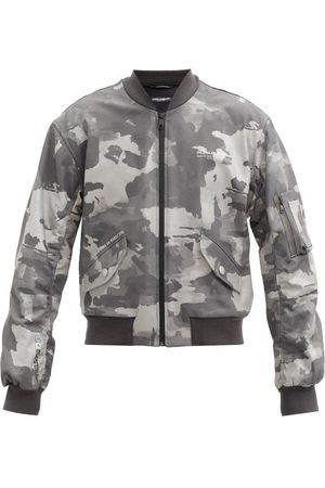 Dolce & Gabbana Men Bomber Jackets - 3d-logo Cotton-blend Poplin Bomber Jacket - Mens - Grey Multi