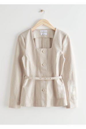 & OTHER STORIES Women Blazers - Fitted Belted Button Up Cotton Blazer