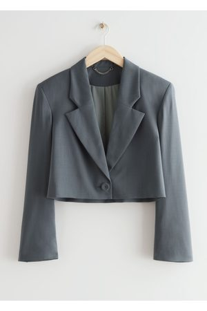 & OTHER STORIES Women Blazers - Boxy Padded Shoulder Wool Blazer - Grey
