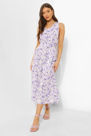 Boohoo Womens Floral Belted Cullotte Jumpsuit - - 4