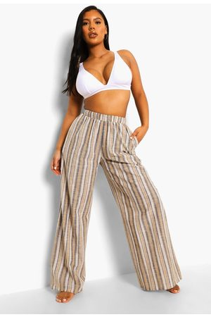 Boohoo Womens Striped Linen Wide Leg Beach Pants - - S