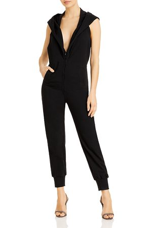 Norma Kamali Women Jumpsuits - Jog Hooded Plunge Neck Jumpsuit