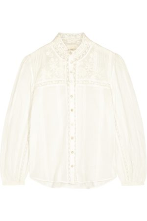 LOVESHACKFANCY Ronda lace-trimmed cotton blouse