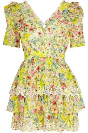 LOVESHACKFANCY Aldina floral-print cotton-blend mini dress