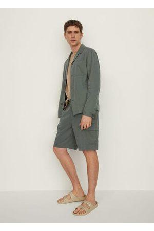 MANGO Cotton linen cargo shorts