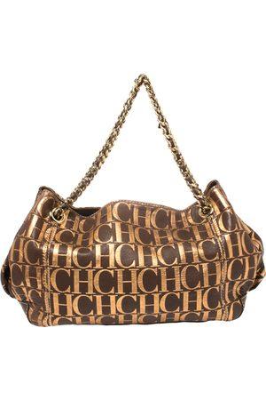 CH Carolina Herrera Carolina Herrera /Metallic Gold Monogram Leather Chain Shoulder Bag