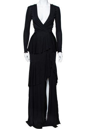 Roberto Cavalli Knit Ruffled Maxi Wrap Dress S