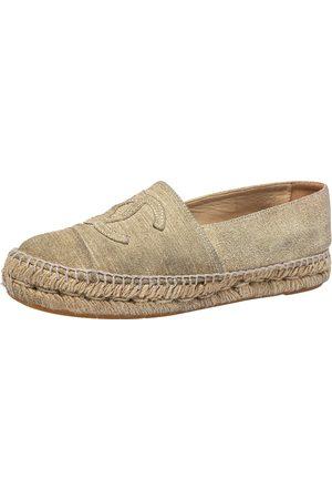 CHANEL Suede CC Cap Toe Espadrille Flats Size 38