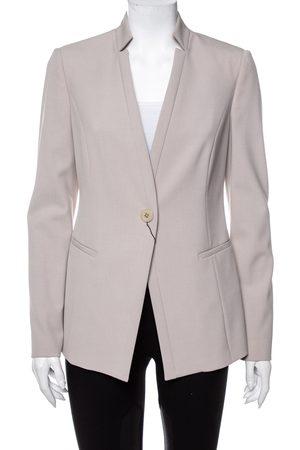 Emporio Armani Textured Crepe Button Front Stand Collar Blazer M