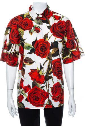 Dolce & Gabbana Rose Printed Cotton Button Front Shirt M