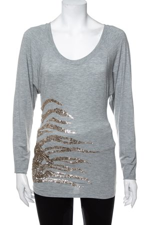 Roberto Cavalli Grey Sequin Embellished Modal Long Sleeve Scoop Neck Top S