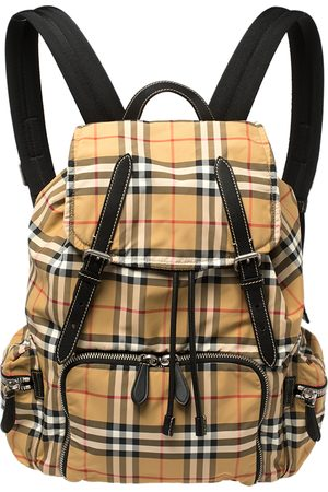 Burberry Antique Yellow Vintage Check Nylon Large Rucksack Backpack