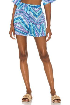 Frankies Bikinis Fifi Viscose Boxer in Blue.
