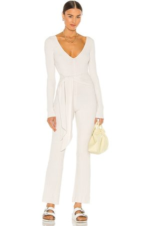 Weekend Stories Wrap Plunge V Jumpsuit in Ivory.