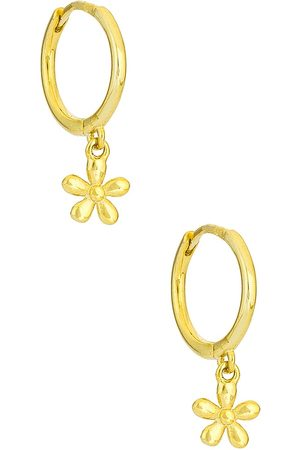 Adina's Jewels Solid Flower Huggies in Metallic .