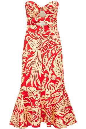 JOHANNA ORTIZ Print Organic Cotton Sateen Midi Dress