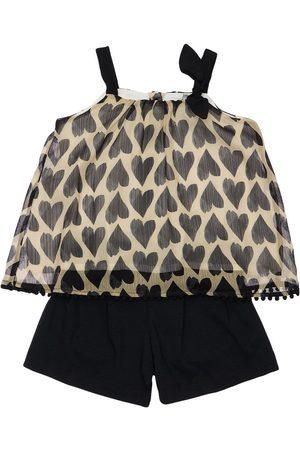 YELLOWSUB Girls Tops - Heart Print Viscose Top & Cotton Shorts