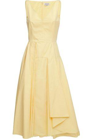 Alexander McQueen Women Asymmetrical Dresses - Asymmetrical Cotton Poplin Midi Dress