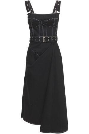 Alexander McQueen Women Bras - Belted Cotton Denim Bustier Dress