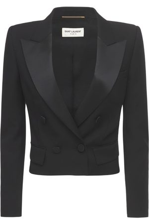 Saint Laurent Women Blazers - Cropped Wool Grain De Poudre Blazer