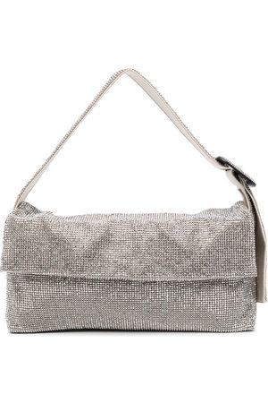 BENEDETTA BRUZZICHES Vitty Grande crystal-mesh shoulder bag - Neutrals