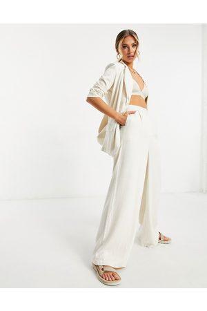 ASOS Washed linen suit wide leg pants in -Neutral