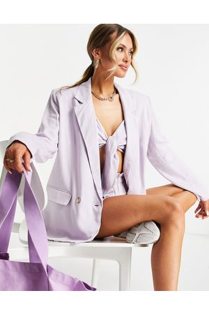 ASOS Washed double breasted linen suit blazer in lilac