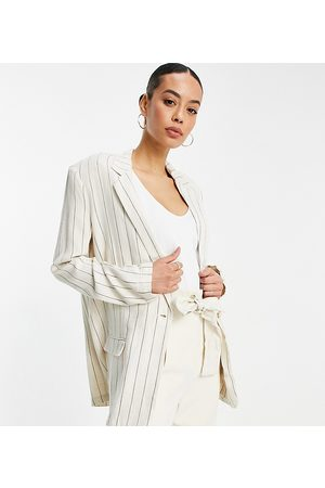 ASOS ASOS DESIGN Tall washed single breasted 3 piece linen suit blazer in stripe-Multi
