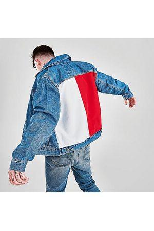 Tommy Hilfiger Men's Flag Mason Trucker Denim Jacket in /Light Indigo Wash Size Small