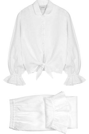 Sleeper Rumba ruffle-trimmed linen pyjama set