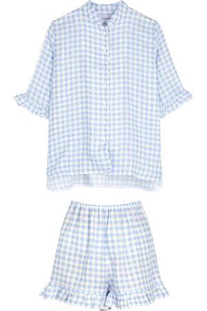 Sleeper Gingham-print ruffle-trimmed linen pyjama set