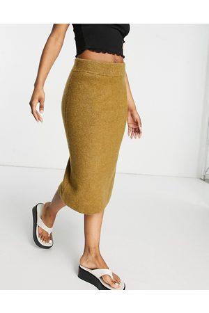 Monki Women Midi Skirts - Adina knitted lounge midi skirt in camel-Neutral