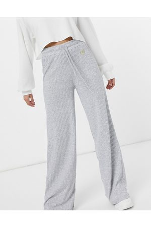 River Island Ribbed jersey flared set pants in -Grey