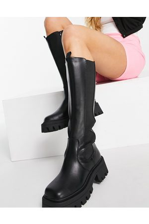 ASOS Chestnut square toe chunky knee boots in