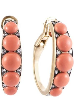 Sylva & Cie Coral and Diamond Half Hoop Earrings