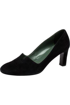 Hermès Suede Slip On Block Heel Pumps Size 38