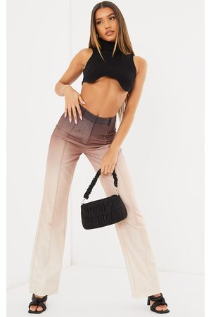 PRETTYLITTLETHING Taupe Ombre Woven Straight Leg Tailored Pants