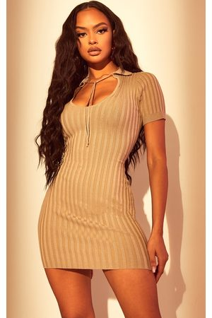 PRETTYLITTLETHING Stone Knitted Collar Tie Bodycon Dress