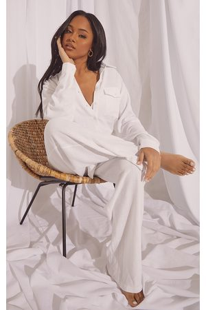 PrettyLittleThing Oversized Long Sleeve Shirt With Pocket And Wide Leg Pants PJ Set