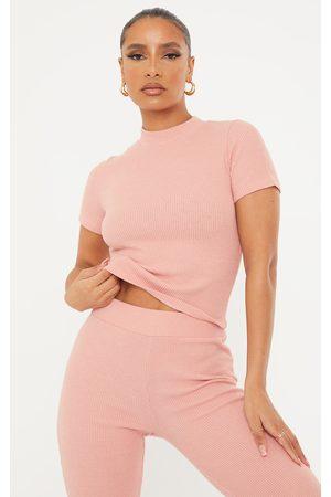 PRETTYLITTLETHING Rose Soft Rib High Neck Short Sleeve Top