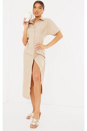 PRETTYLITTLETHING Stone Fitted Waist Short Sleeve Midi Shirt Dress