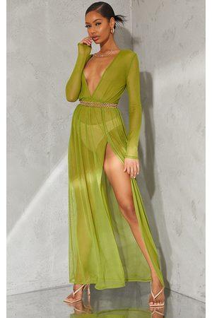 PRETTYLITTLETHING Olive Sheer Mesh Plunge Long Sleeve Split Maxi Dress