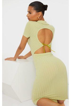 PRETTYLITTLETHING Sage Rib Open Back Polo Collar Detail Midi Dress