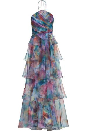 THEIA Women's Multicolor Ruffle Organza A-Line Gown - Imprinted Blooms - Size 10