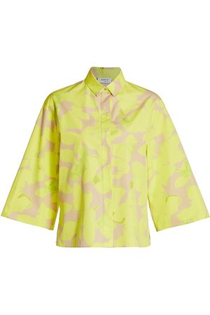AKRIS Women's Magnolia Poplin Kimono-Sleeve Blouse - Neon Sand - Size 8