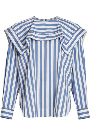3.1 Phillip Lim Women's Draped Handkerchief Collar Striped Poet Blouse - Ivory - Size 10